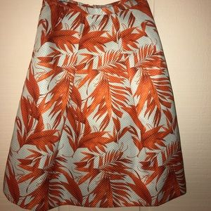 Tropical Print Skirt Coral Aqua